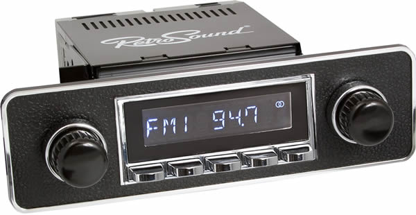 Retrosound Hermosa Chrome Euro Black & Chrome Bluetooth USB Classic Radio by Retrosound - CarAudioStuff
