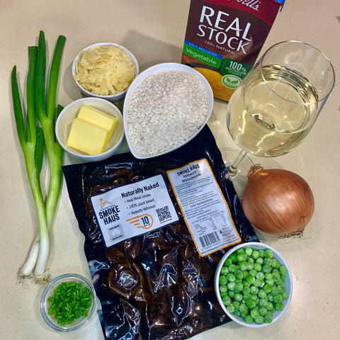 Mushroom and pea risotto ingredients
