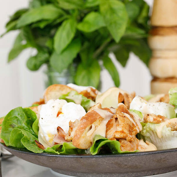 Caesar Salad with Smoked Chicken Thighs