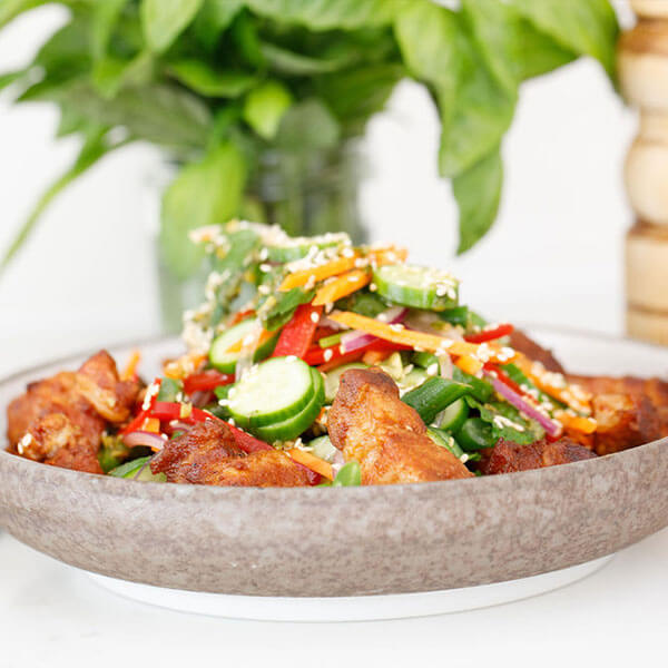 Pork Belly Bits with Asian Style Salad