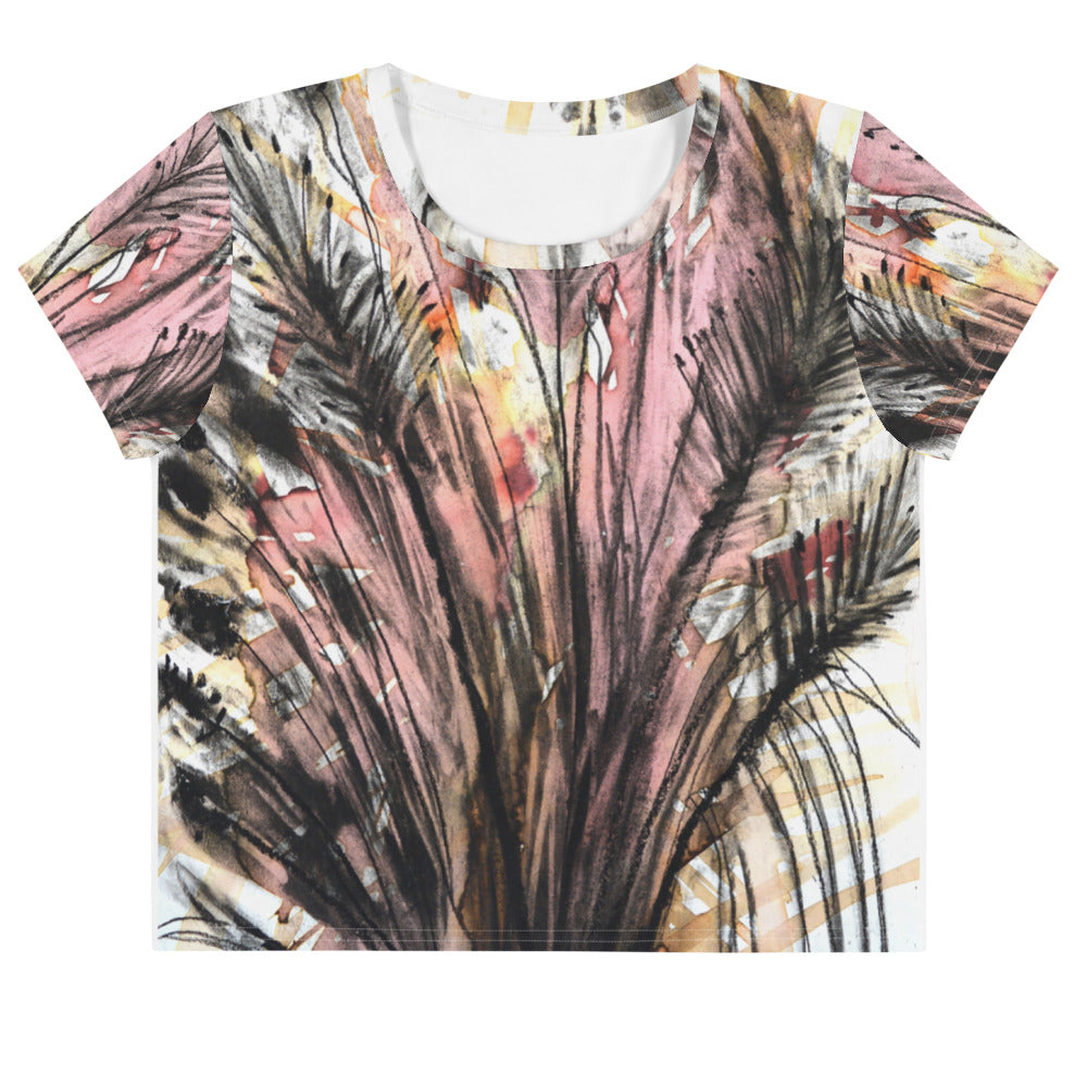 Pink Fern All-Over Print Crop Tee