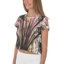 Load image into Gallery viewer, Pink Fern All-Over Print Crop Tee
