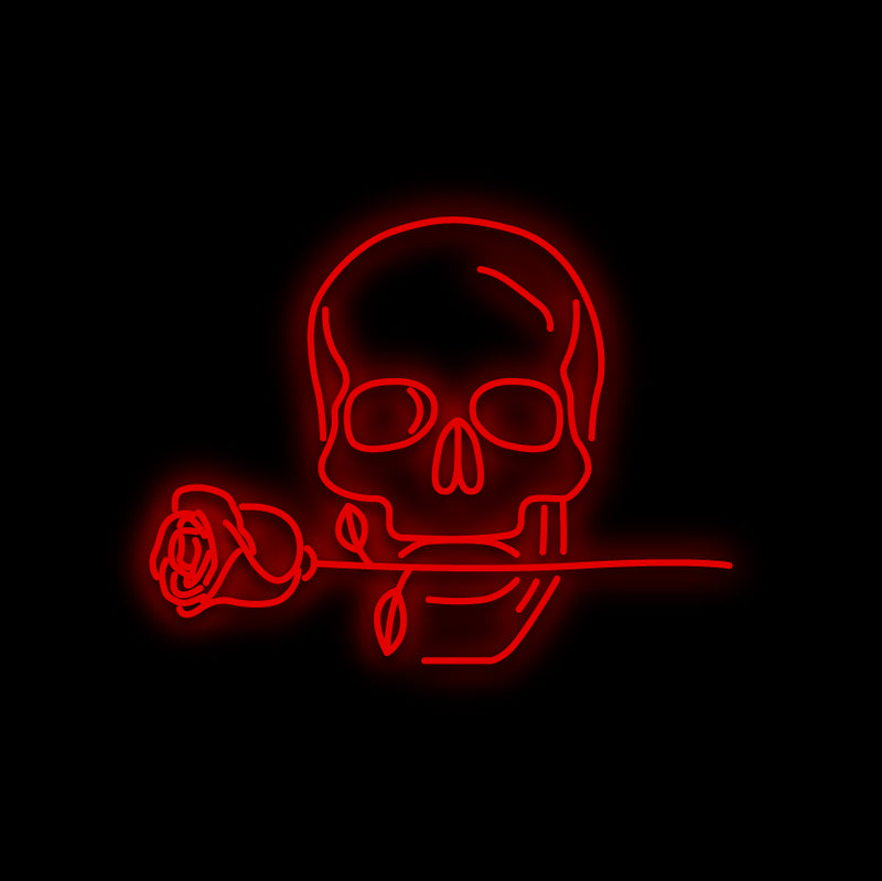 Skull in Love Neon Sign