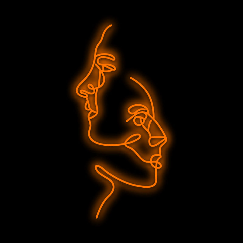 Two Faces Women Silhouettes Neon Sign