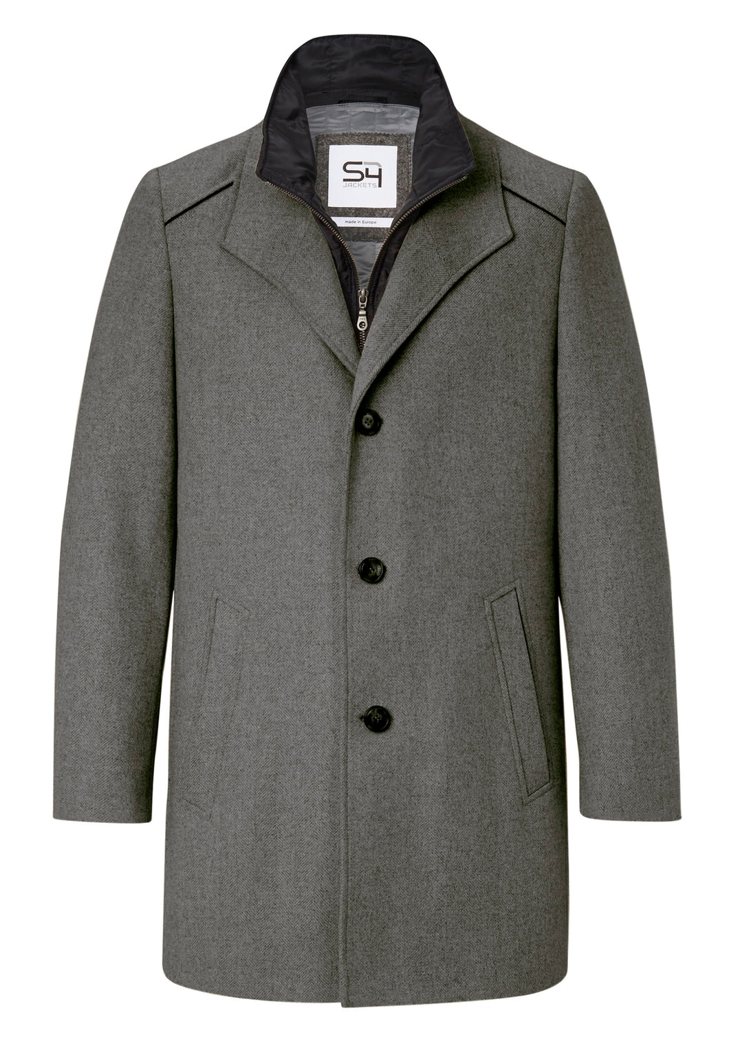 S4 Newton Overcoat Herringbone/Grey