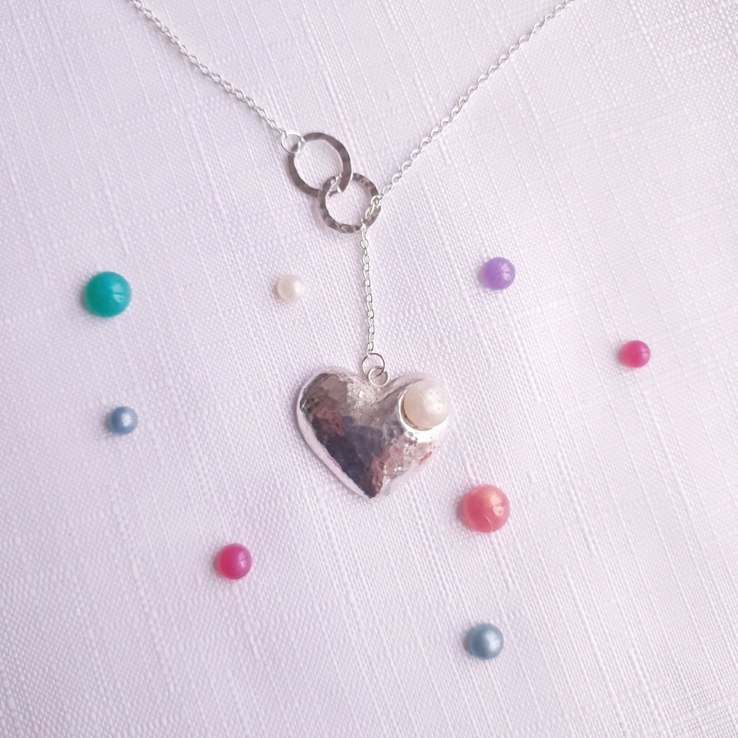 Handmade in Hampshire Hammered Heart Necklace - Breastmilk/Ashes and more
