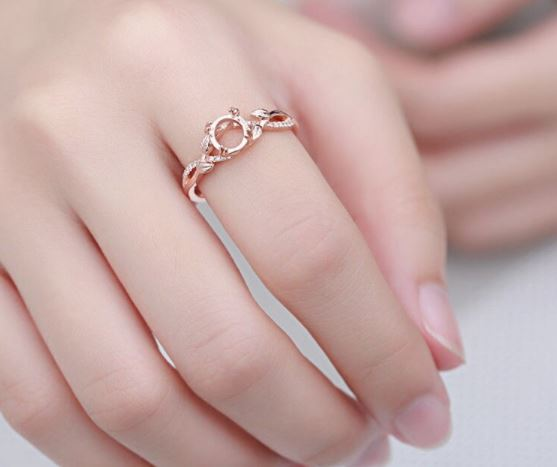 10K Solid Rose Gold Diamond Ring