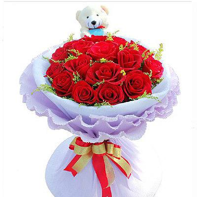 Divine - Red Roses & Small Bear flowers Mayaflowers