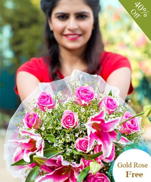 Gorgeous Pink By Maya Flowers - Free Golden Rose flowers Mayaflowers
