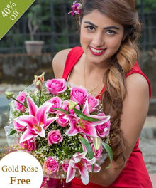Romantic Bouquet By Maya Flowers - Free Golden Rose flowers Mayaflowers