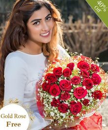 Red Roses By Maya Flowers - Free Gold Rose flowers Mayaflowers
