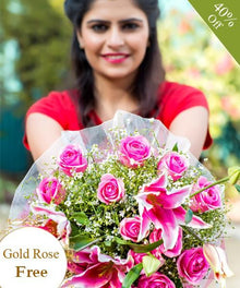 Sweet Pink By Maya Flowers - Free Golden Rose flowers Mayaflowers