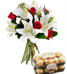 Sensational Bouquet & Ferrero Rocher Box flowers Mayaflowers