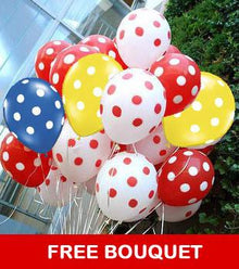 Colorful Polka Dots Balloon + Free Bouquet flowers Mayaflowers