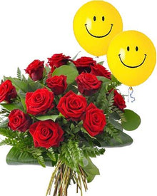 Red Roses with smiley balloon flowers Mayaflowers