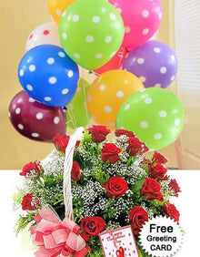 Red Surprise with Balloons flowers Mayaflowers