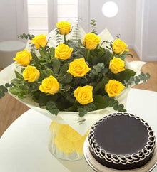 Dozen Yellow Bouquet with Chocolate Surprise flowers Mayaflowers