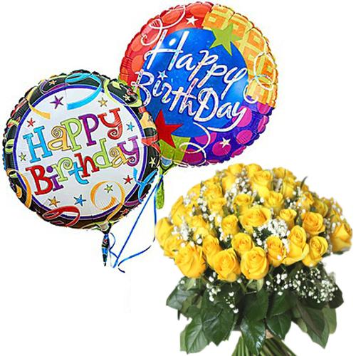 Premium Mylar Balloons with Yellow Roses Hand Bunch flowers Mayaflowers