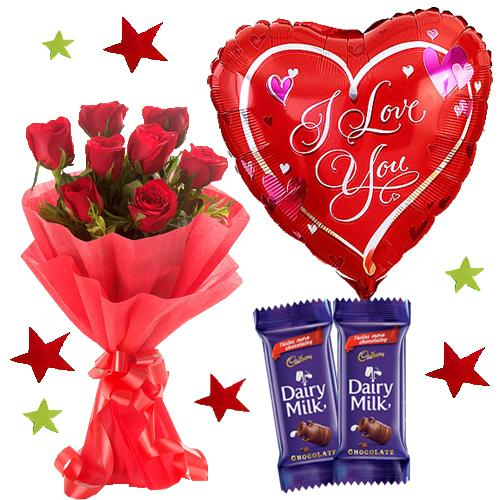 Premium Love Balloon with chocolate & Red Roses Bunch flowers Mayaflowers