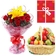 Fruit Gift Basket & Bouquet flowers Mayaflowers
