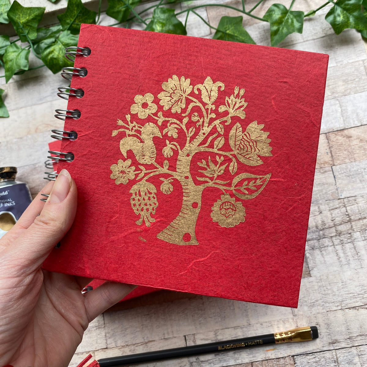 "6""x6"" Linoprinted Sketchbook - Gold Tree of Life on Red"
