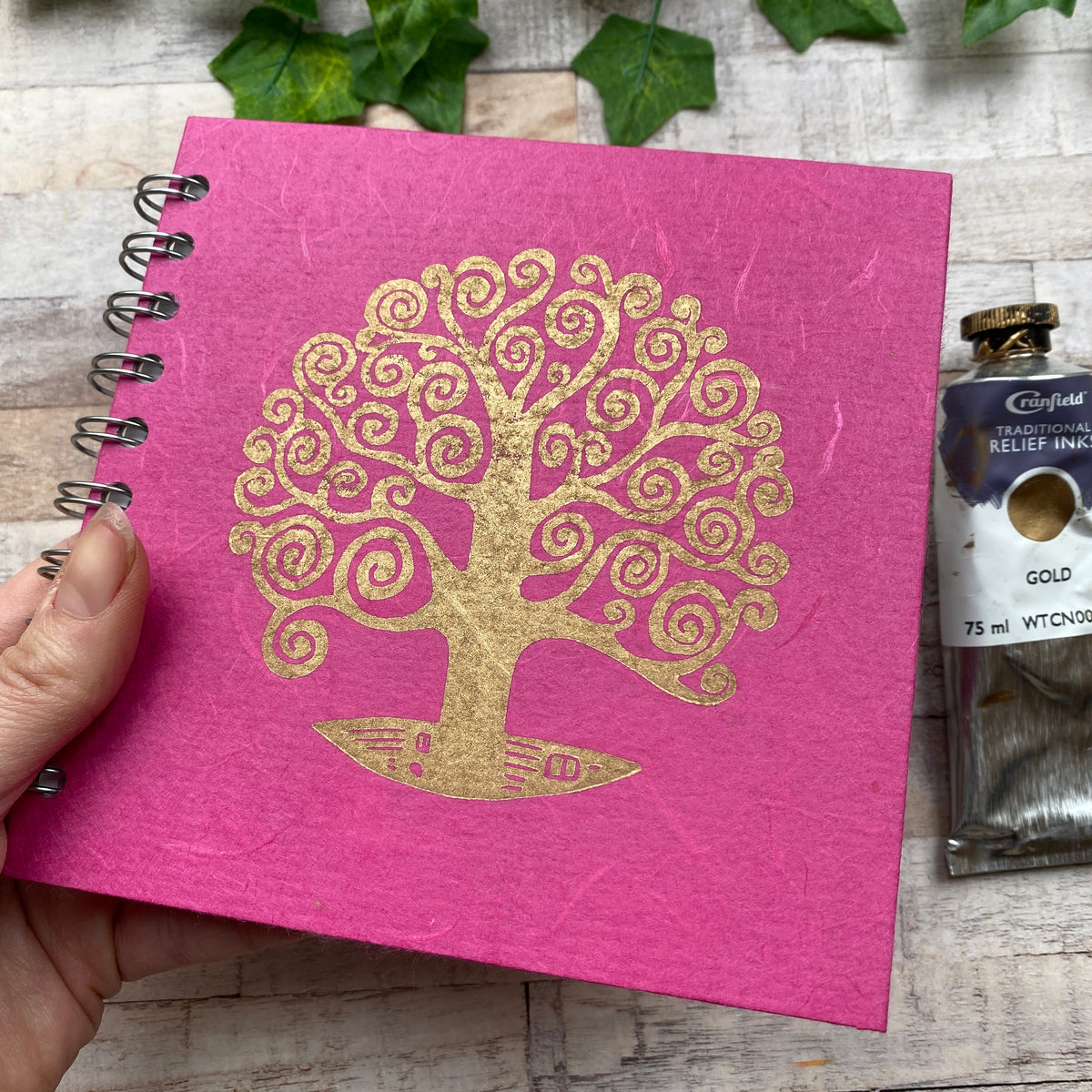 "6""x6"" Linoprinted Sketchbook - Gold Tree of Life on Black"