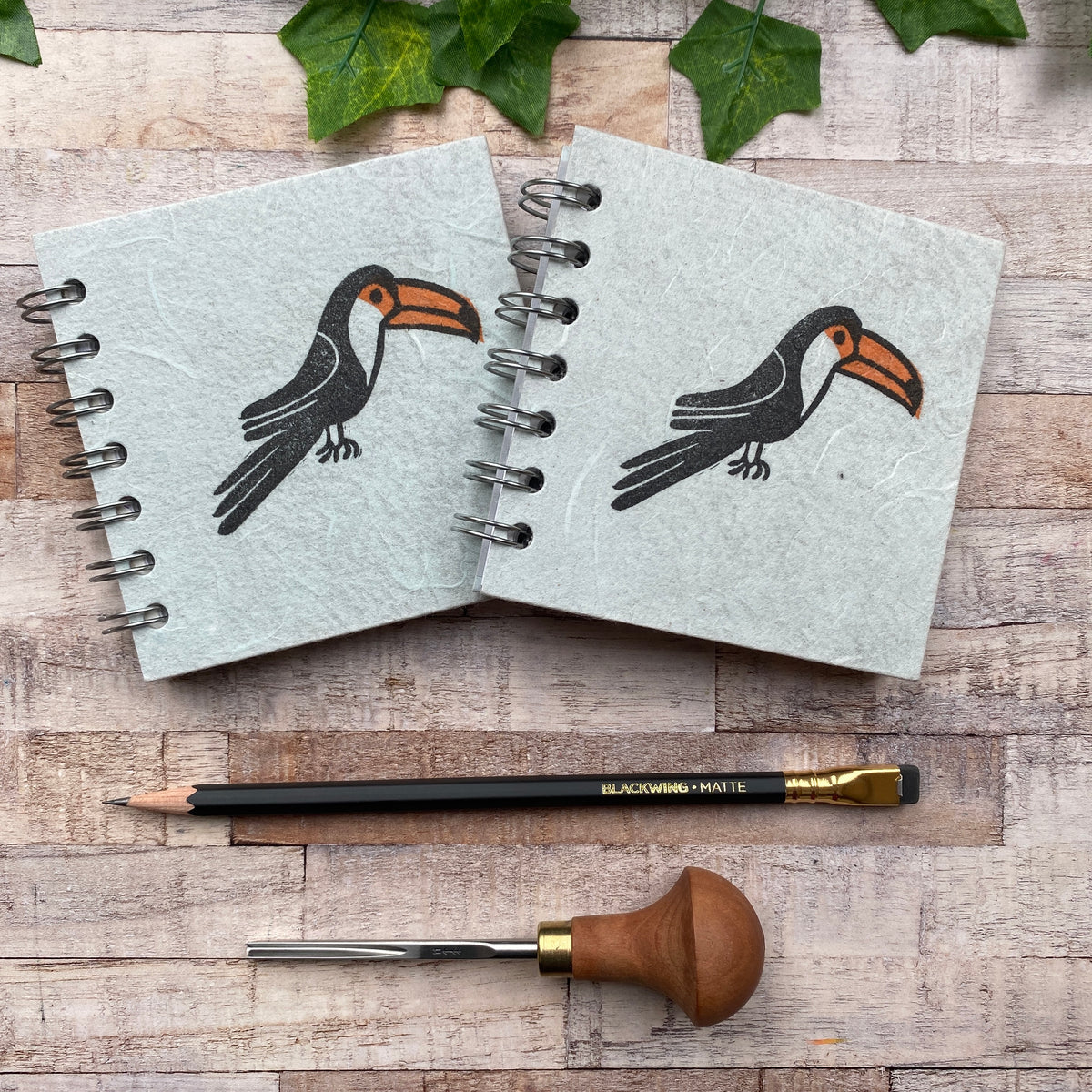 "4""x4"" Block Printed Sketchbook - Toucan"