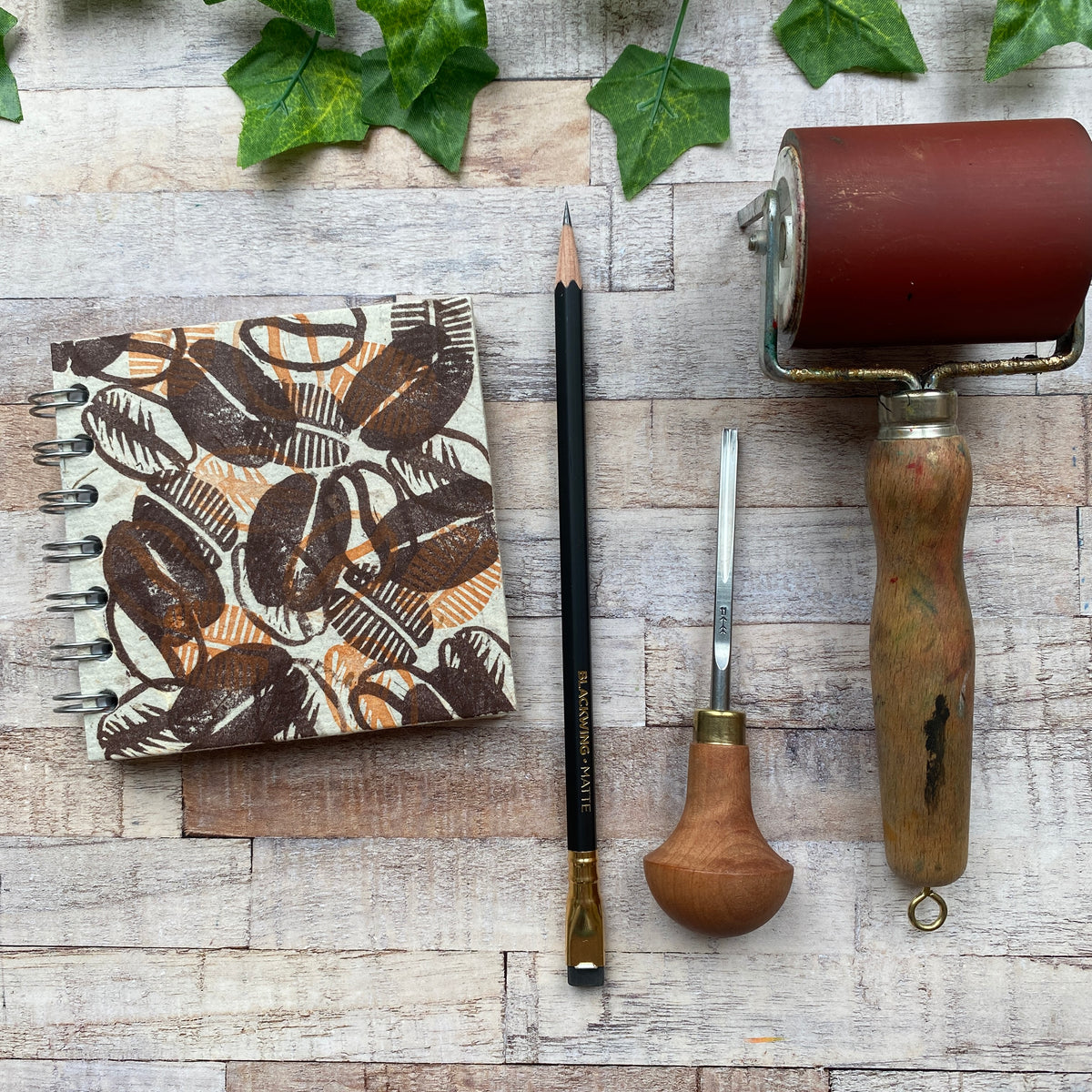 "4""x4"" Block Printed Sketchbook - Coffee Beans"