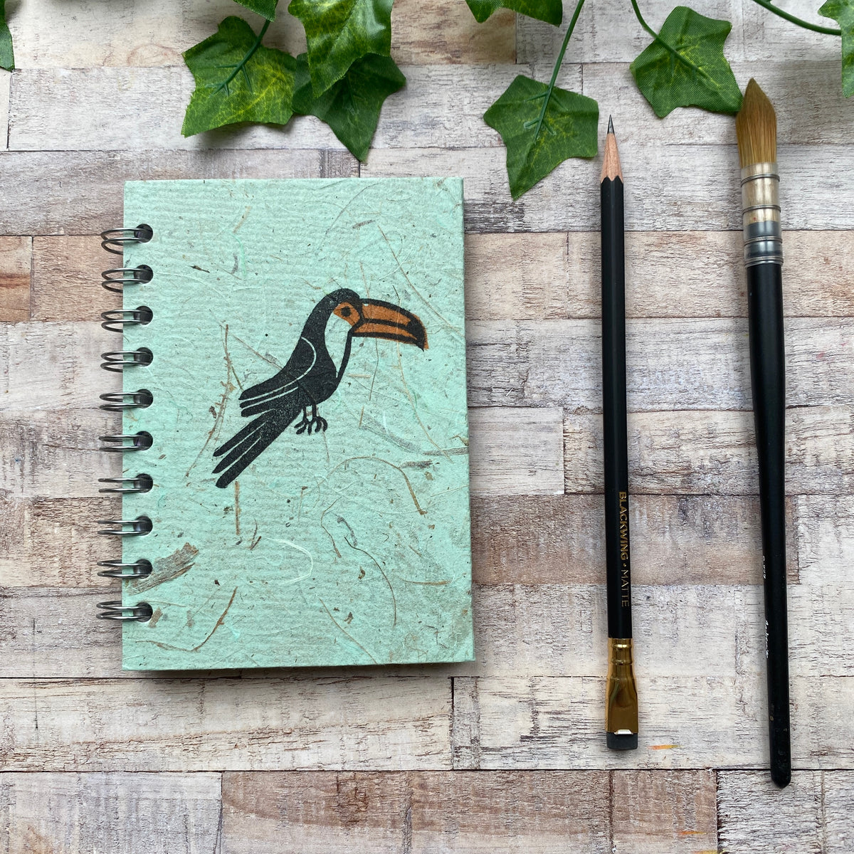 A6 Block Printed Sketchbook - Peppermint Toucan