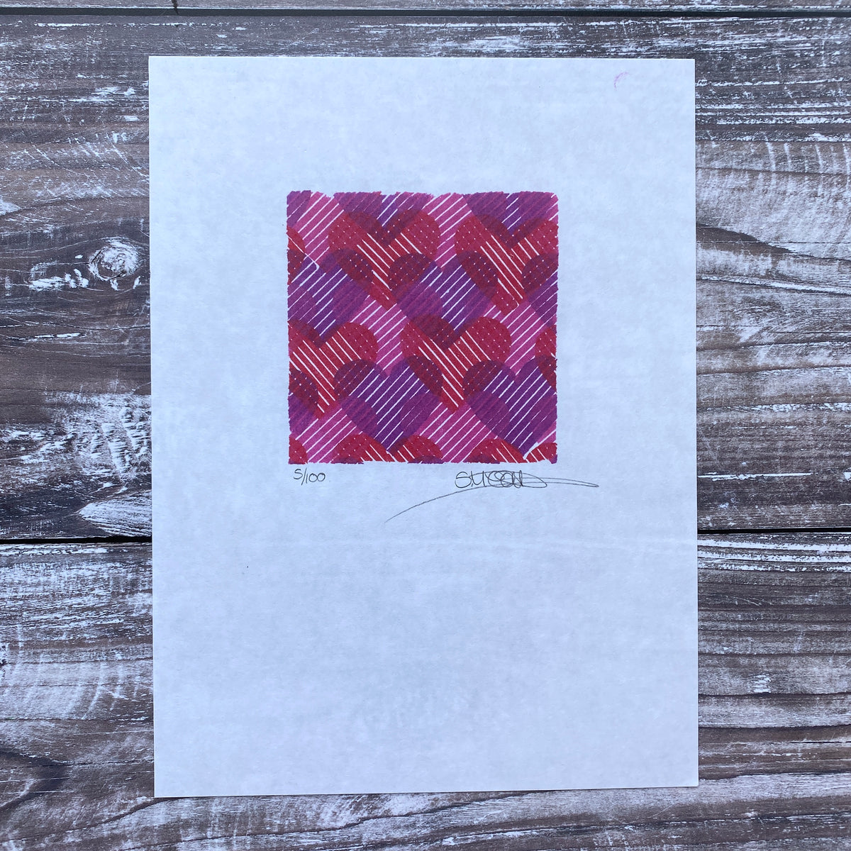 Love Hearts Layered Block Print