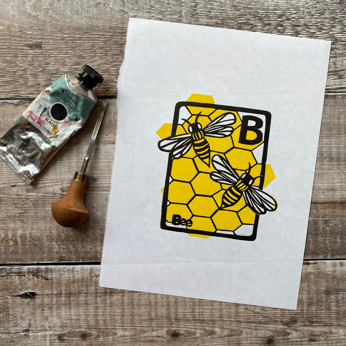 B is for Bee Linocut Print