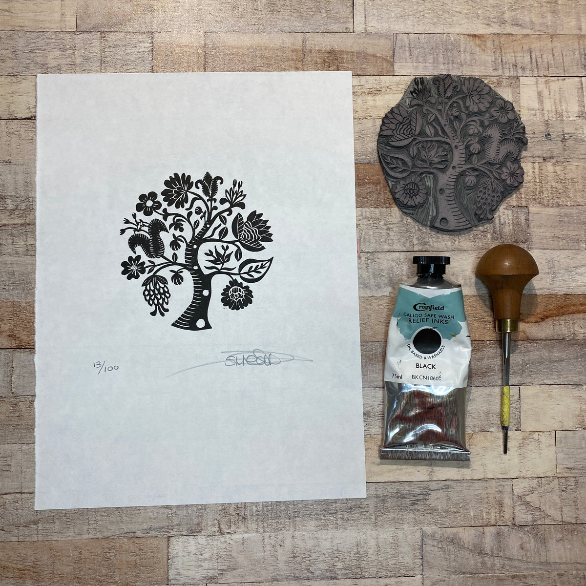 Tree of Life III - Original Linocut Print