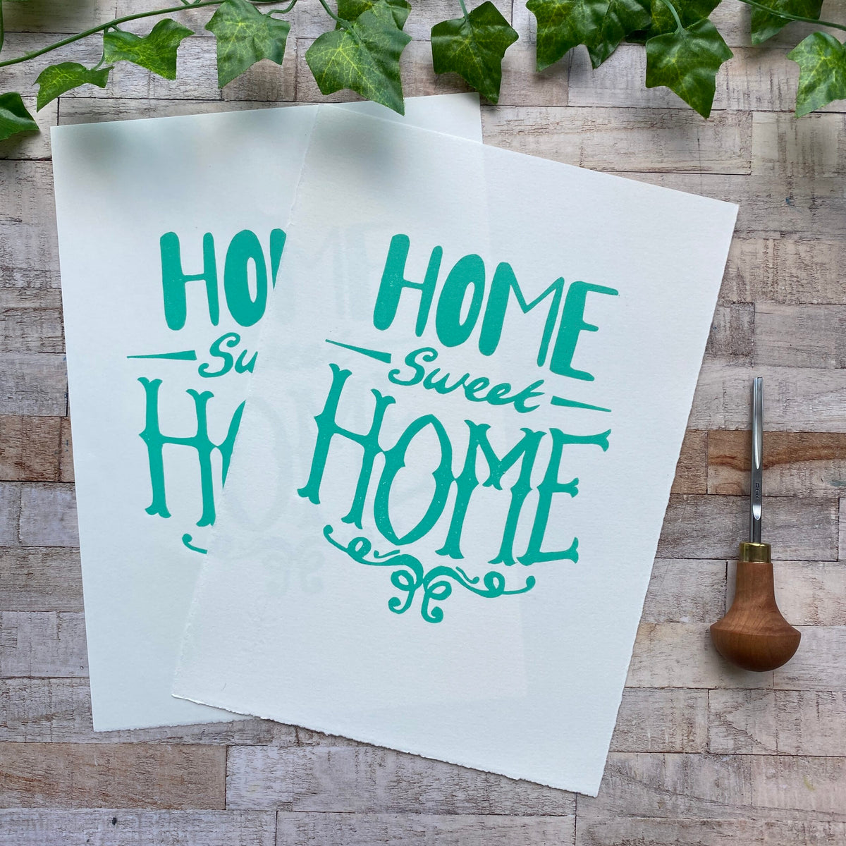 Home Sweet Home Linocut Print (Lighter Green x 2)