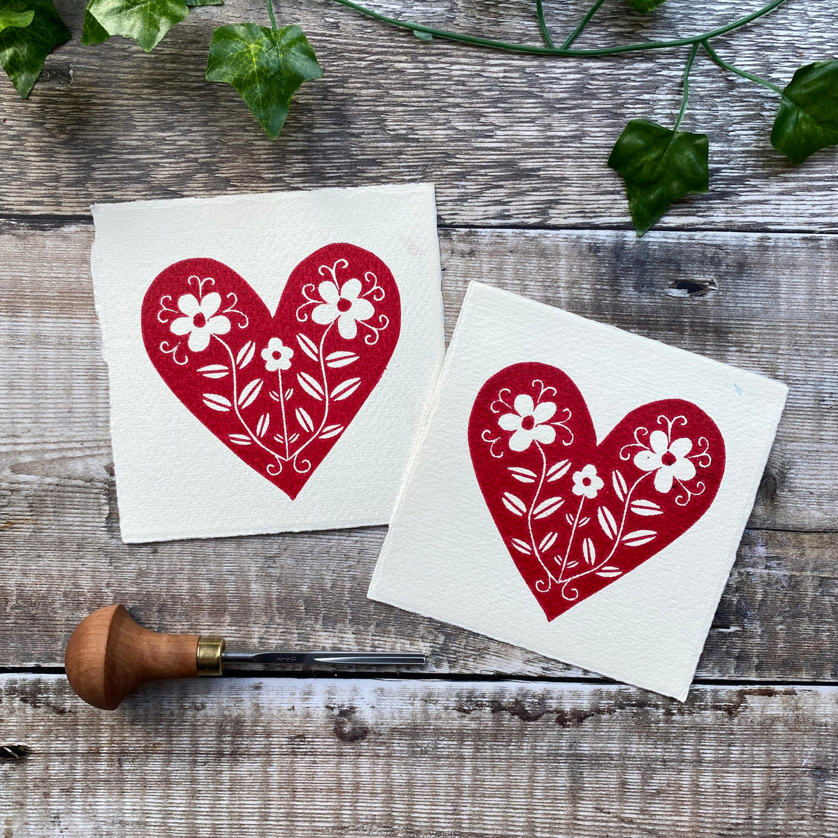 Two red Heart Mini Linocuts / Notecards