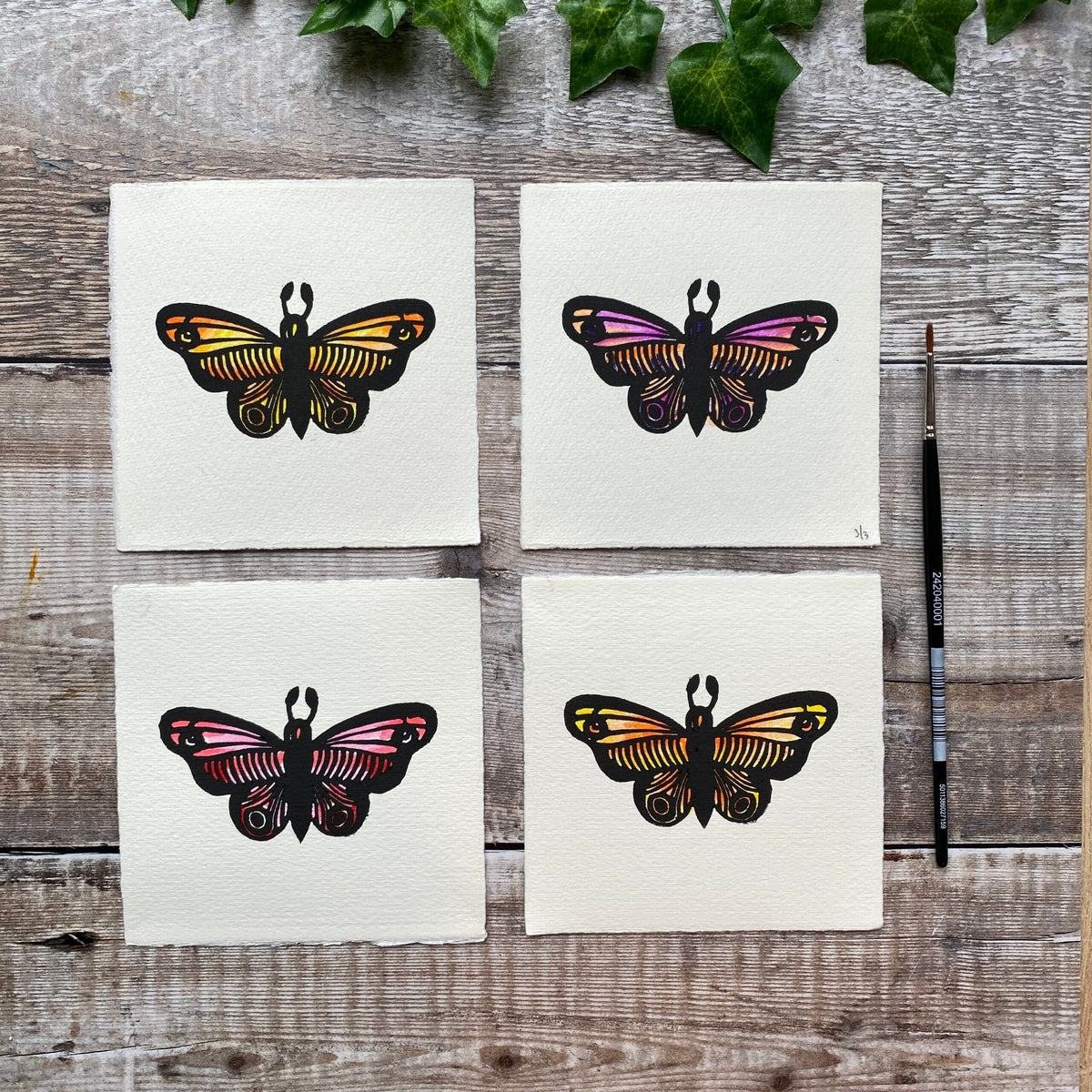 SALE - Four Hand-Coloured Butterfly Mini Linocuts / Notecards (3/3)
