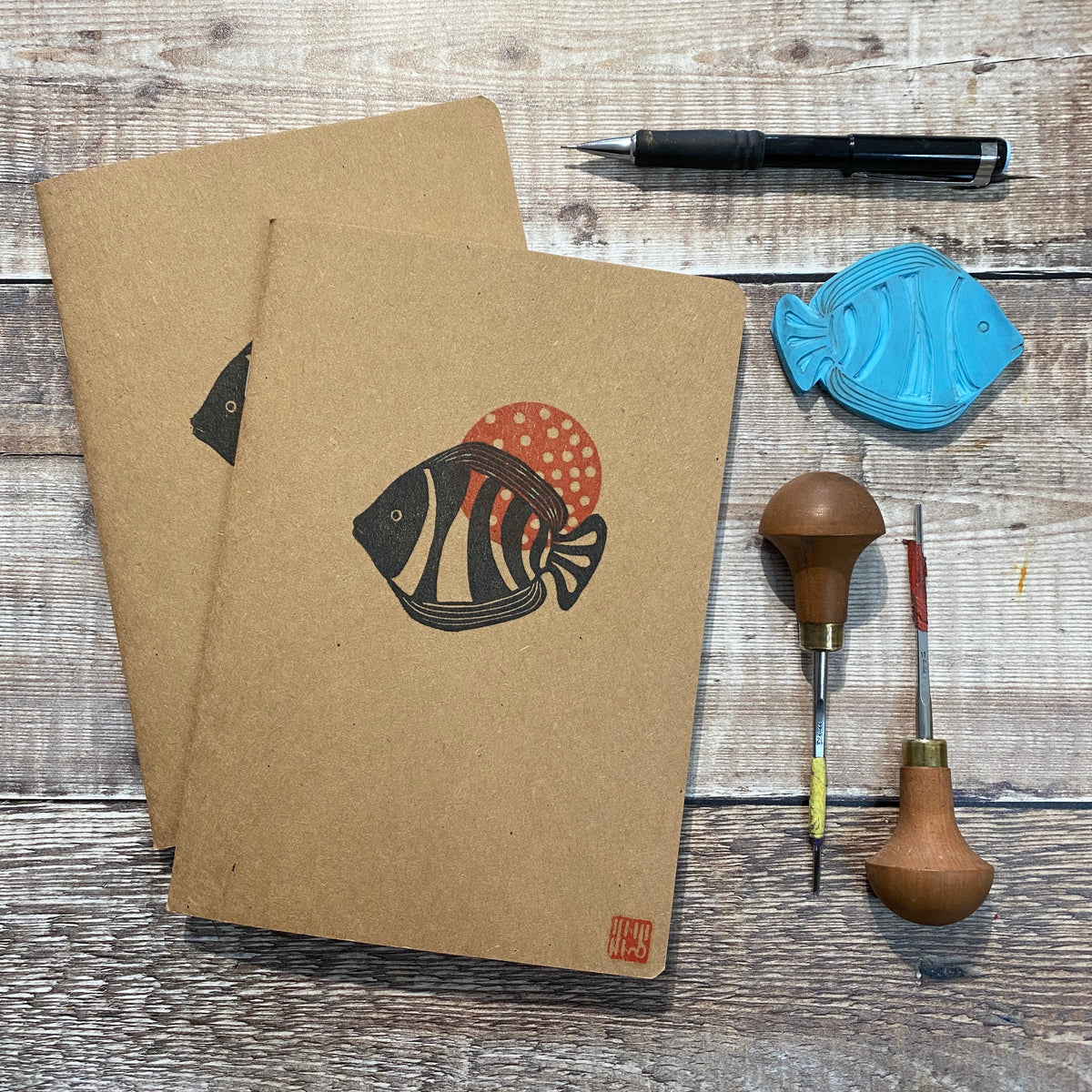 A5 Block Printed Sketchbook - Tropical Fish