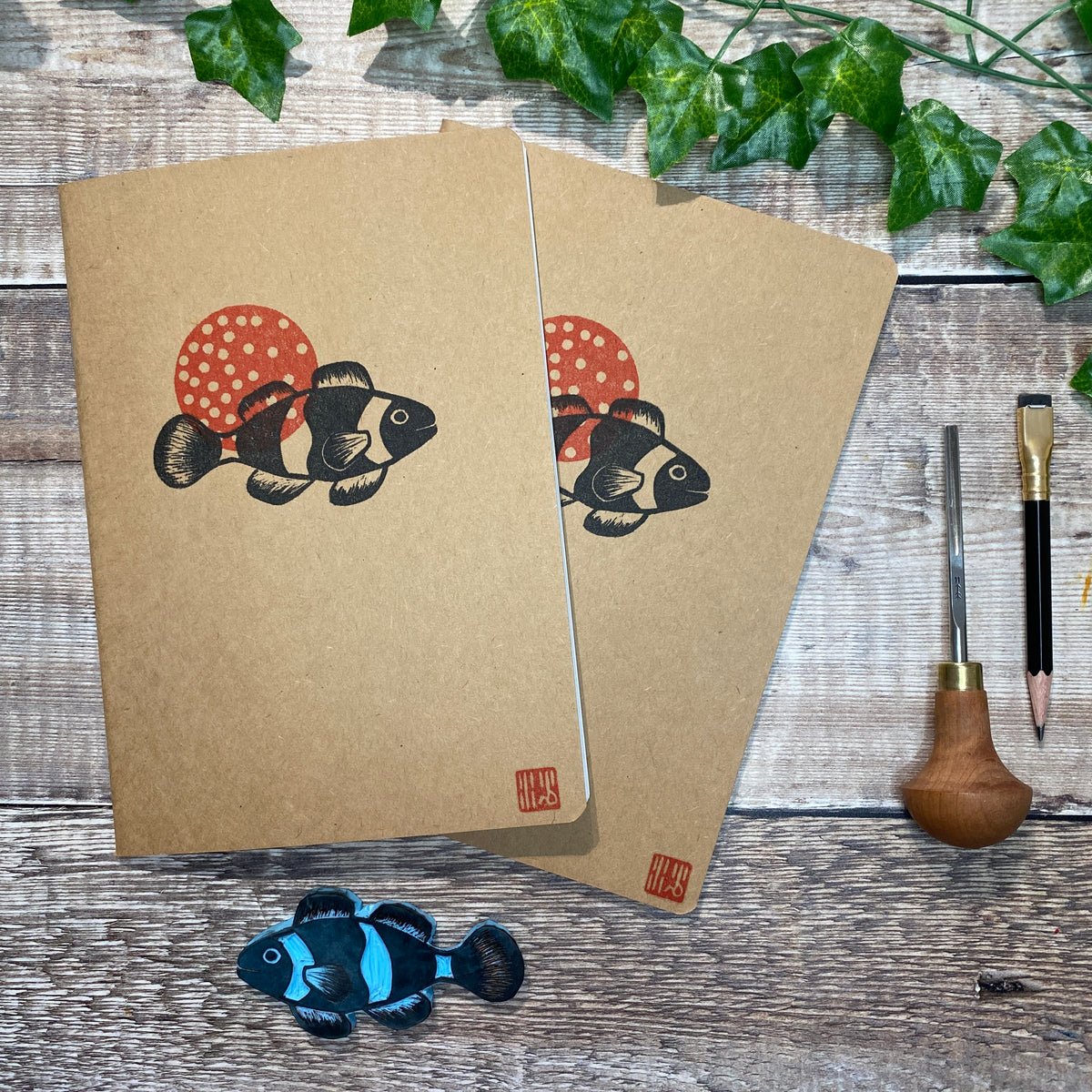 A5 Block Printed Sketchbook - Clown Fish