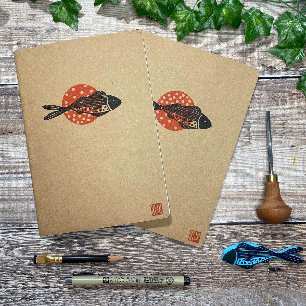 A5 Block Printed Sketchbook - Little Barb Fish
