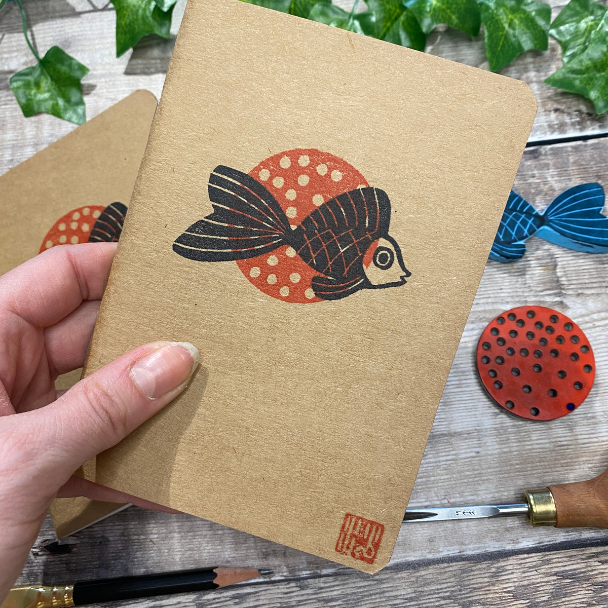 A6 Block Printed Sketchbook - Goldfish
