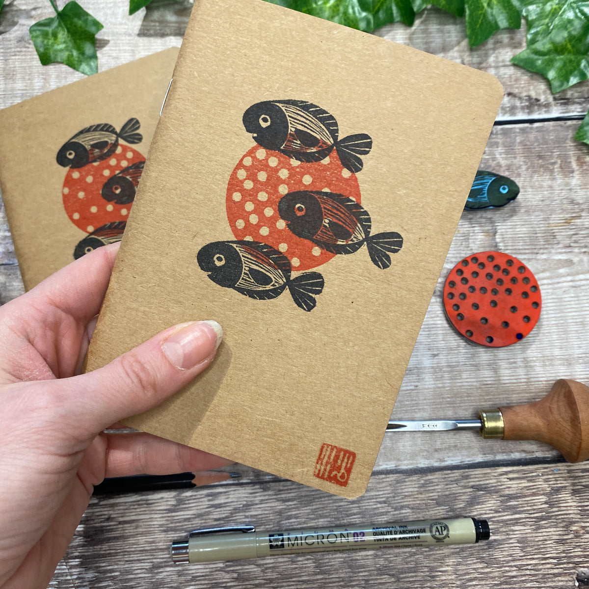 A6 Block Printed Sketchbook - Three Little fish