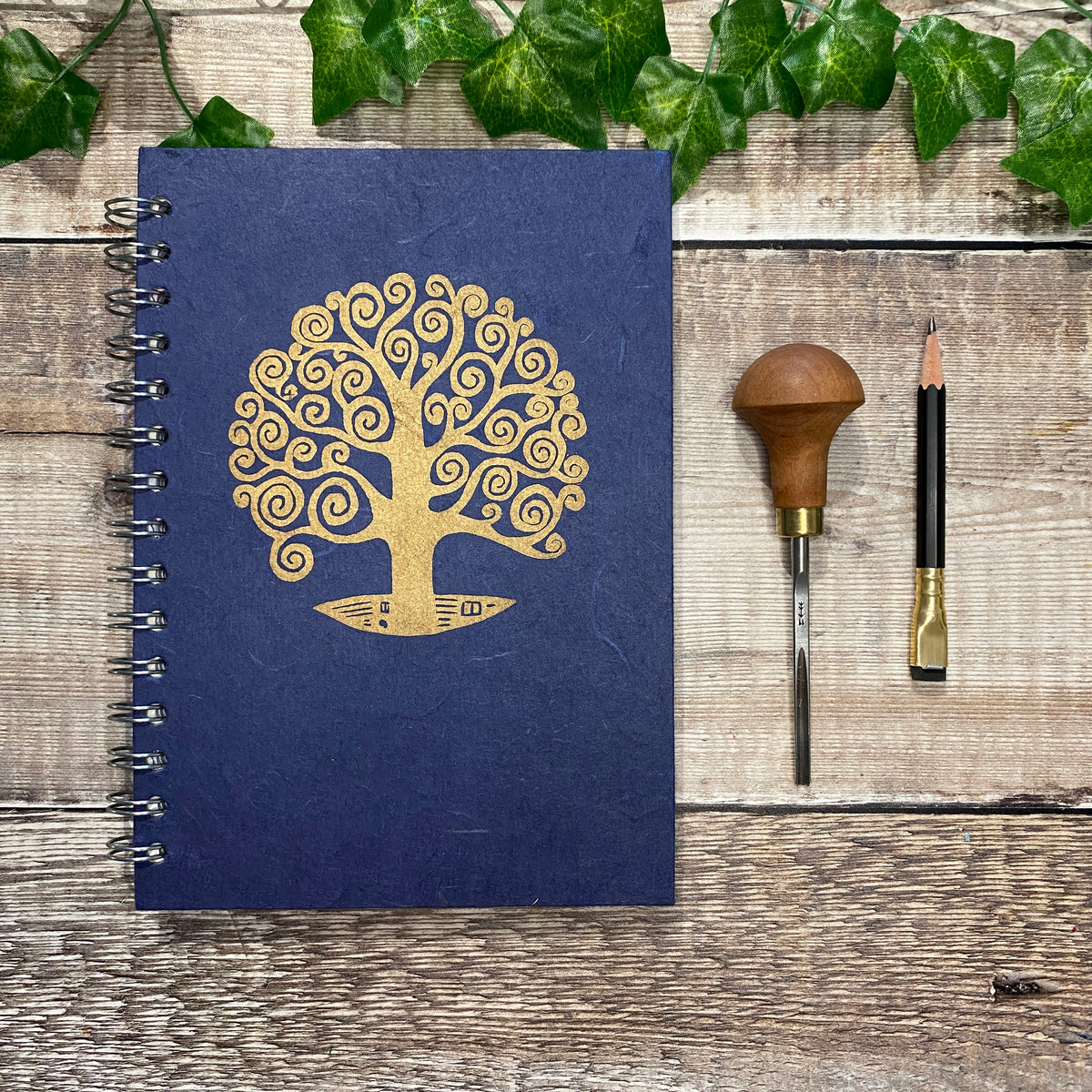 A5 Linoprinted Sketchbook - Gold Tree of Life on Blue