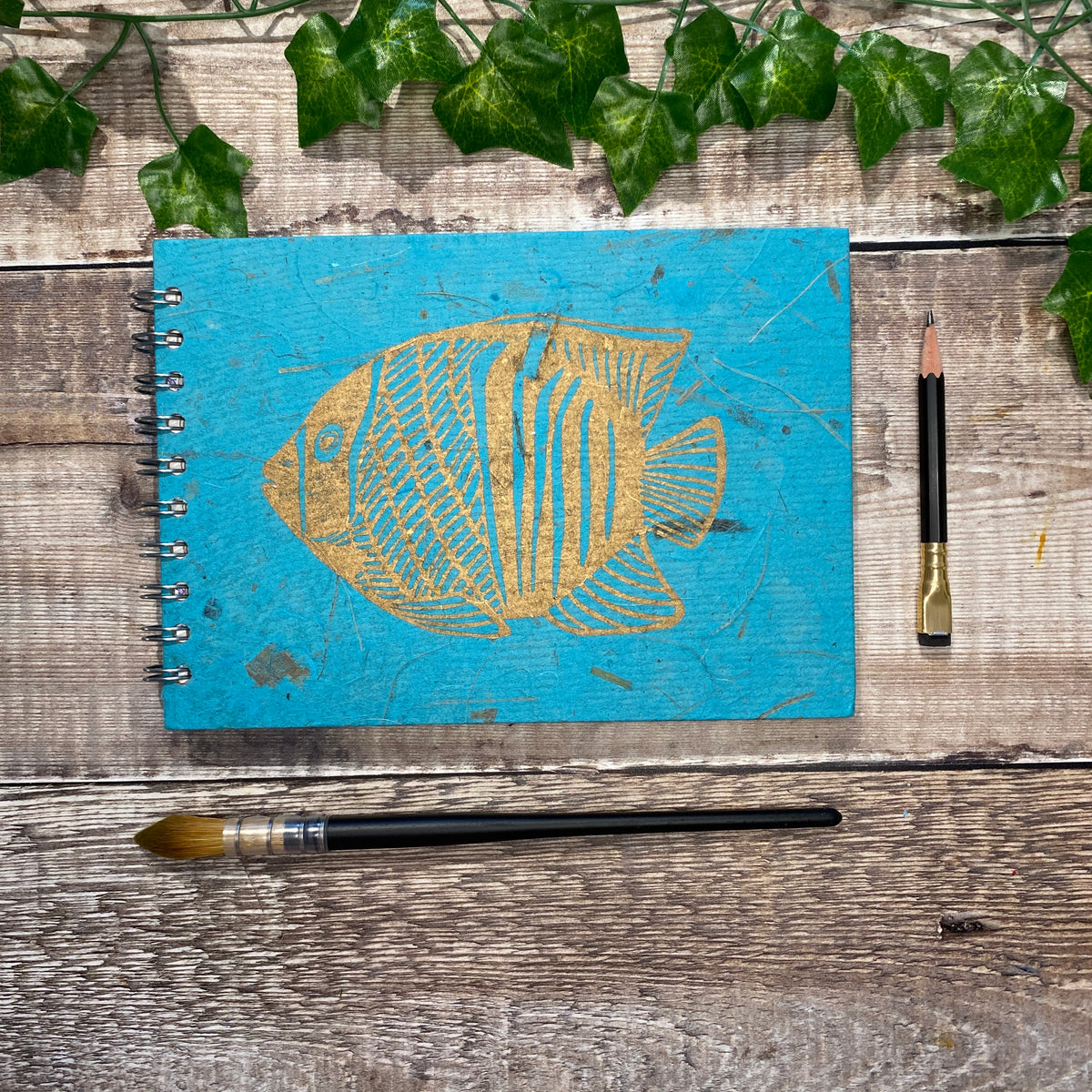 A5 Sky Blue Landscape Watercolour Sketchbook - Gold Fish Linocut