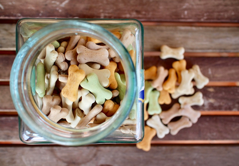 Jar full of dog treats set on a picnic table with more treats on it.