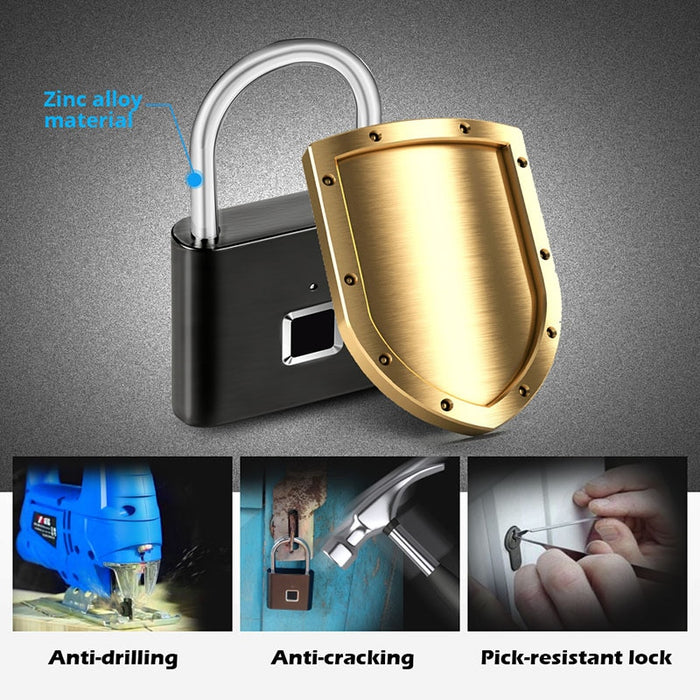 Smart Padlock door lock 0.1sec Unlock Portable Anti-theft Fingerprint Padlock Zinc