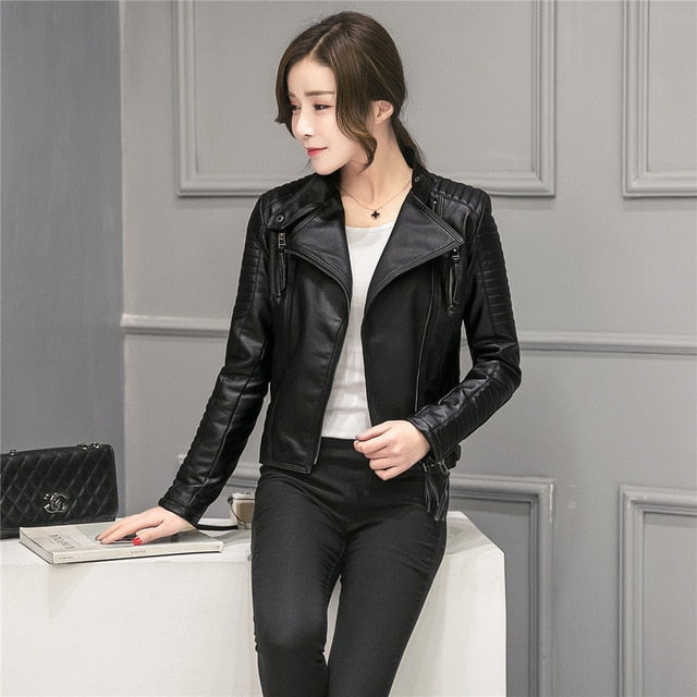 Pu Black Blazer Zippers Faux Soft Leather Jackets