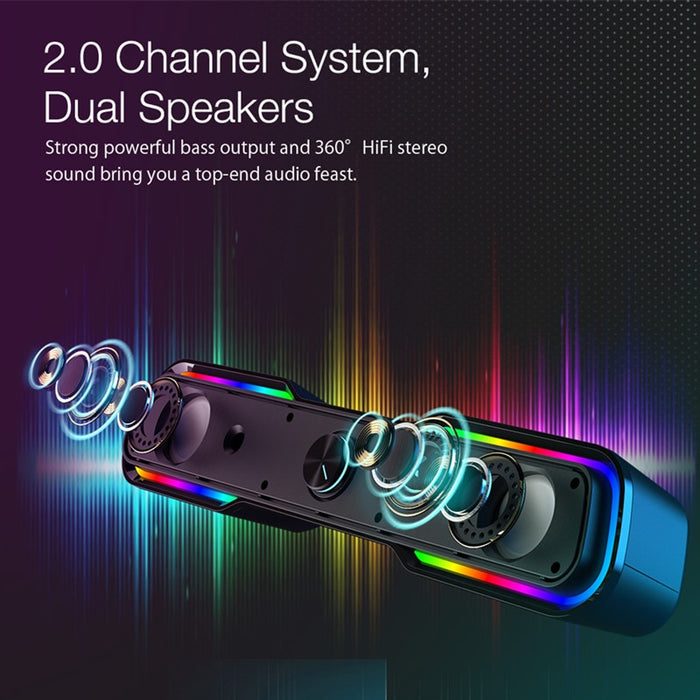 Computer Game Speaker with 2.0 Channel System Bluetooth