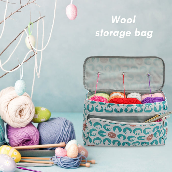 Wool Crochet Storage Bag Oxford Cloth Printing Knitting Needles