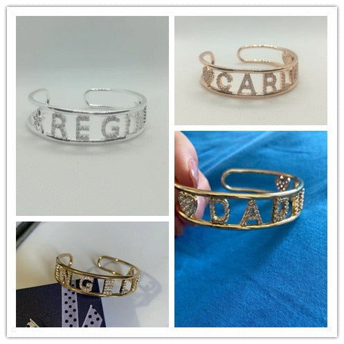 Letters Bangle Women Custom Name Bracelet Charms