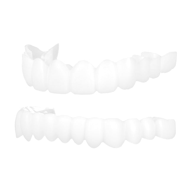 Full Set Top + Bottom Silicone False Teeth Top Bottom Upper Lower Veneers False Teeth Cosmetic Denture One Size Fits Most