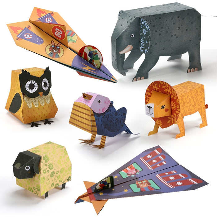 4 Styles Baby Craft Toys Children Paper-cut 3D